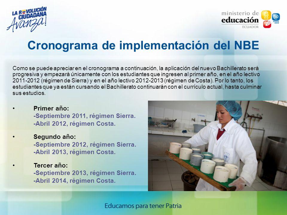 Cronograma de implementación del NBE Como se puede apreciar en el cronograma a continuación, la aplicación del nuevo Bachillerato será progresiva y em