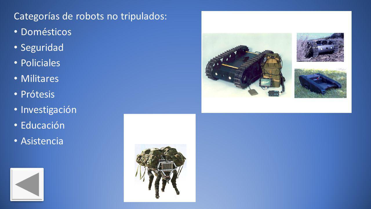 Categorías de robots no tripulados: Domésticos Seguridad Policiales Militares Prótesis Investigación Educación Asistencia