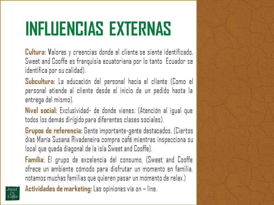 Cultura: V alores y creencias donde el cliente se siente identificado, Sweet and Cooffe es franquisia ecuatoriana por lo tanto Ecuador se identifica p