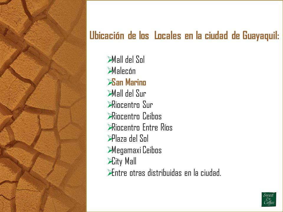 Ubicación de los Locales en la ciudad de Guayaquil: Mall del Sol Malecón San Marino Mall del Sur Riocentro Sur Riocentro Ceibos Riocentro Entre Ríos P