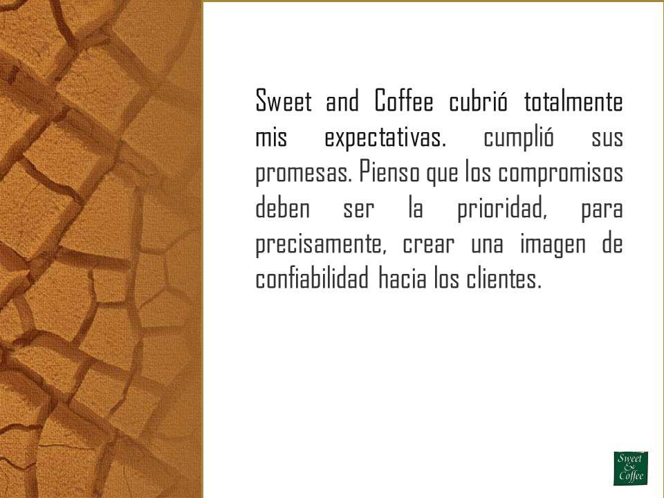 Sweet and Coffee cubrió totalmente mis expectativas. cumplió sus promesas. Pienso que los compromisos deben ser la prioridad, para precisamente, crear
