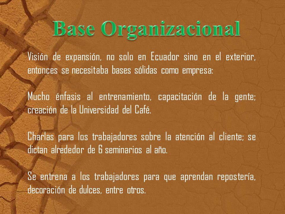 Visión de expansión, no solo en Ecuador sino en el exterior, entonces se necesitaba bases sólidas como empresa: Mucho énfasis al entrenamiento, capaci