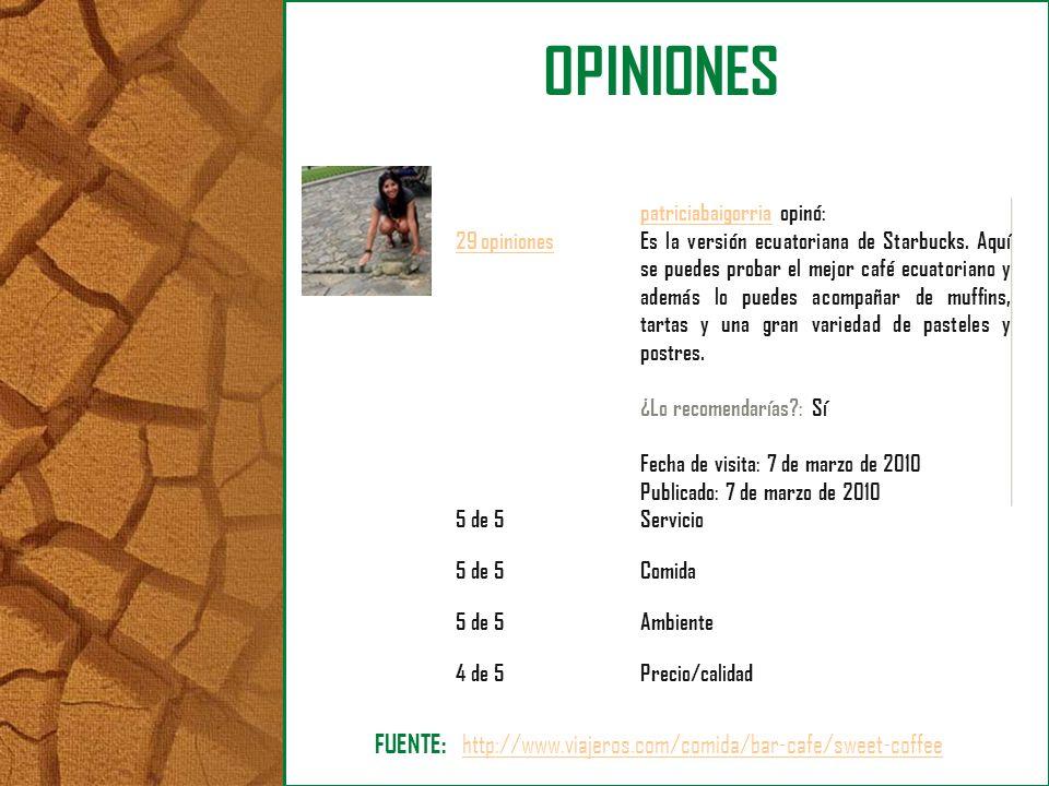 OPINIONES 29 opiniones patriciabaigorriapatriciabaigorria opinó: Es la versión ecuatoriana de Starbucks. Aquí se puedes probar el mejor café ecuatoria