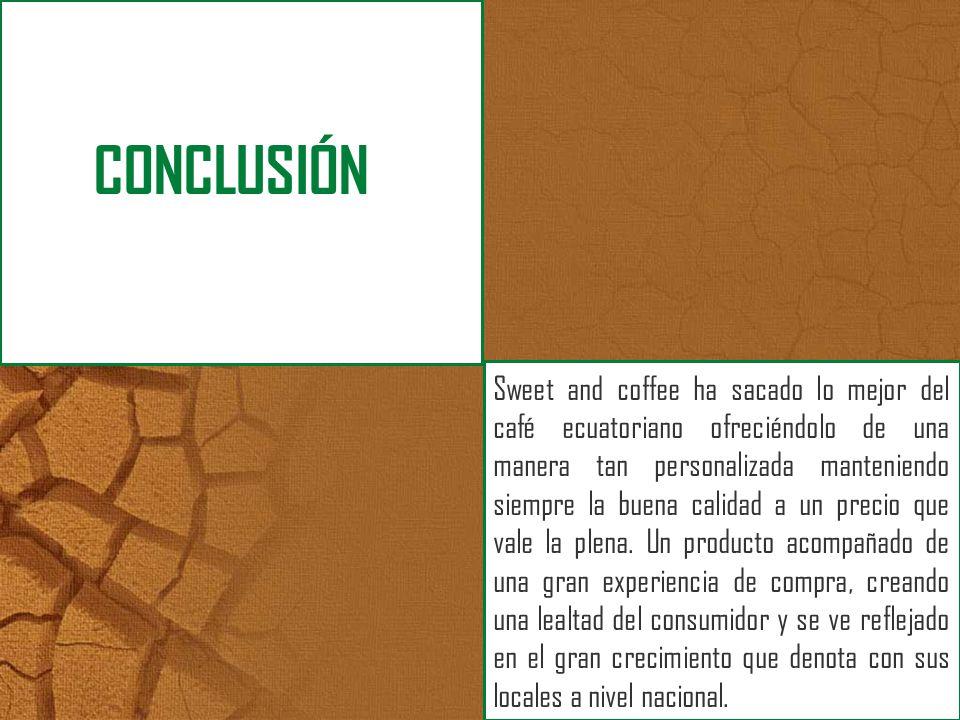 Sweet and coffee ha sacado lo mejor del café ecuatoriano ofreciéndolo de una manera tan personalizada manteniendo siempre la buena calidad a un precio