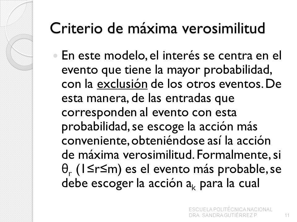 Criterio de máxima verosimilitud En este modelo, el interés se centra en el evento que tiene la mayor probabilidad, con la exclusión de los otros eventos.