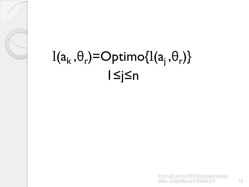 l (a k, θ r )=Optimo{ l (a j, θ r )} 1jn ESCUELA POLITÉCNICA NACIONAL DRA. SANDRA GUTIÉRREZ P.12
