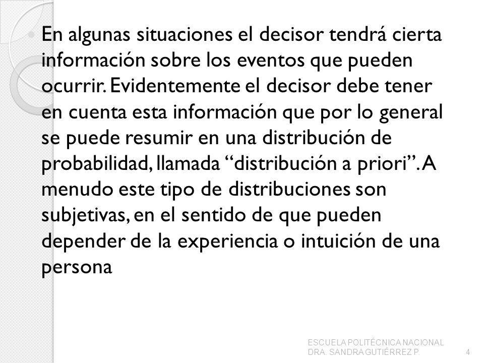 En algunas situaciones el decisor tendrá cierta información sobre los eventos que pueden ocurrir.