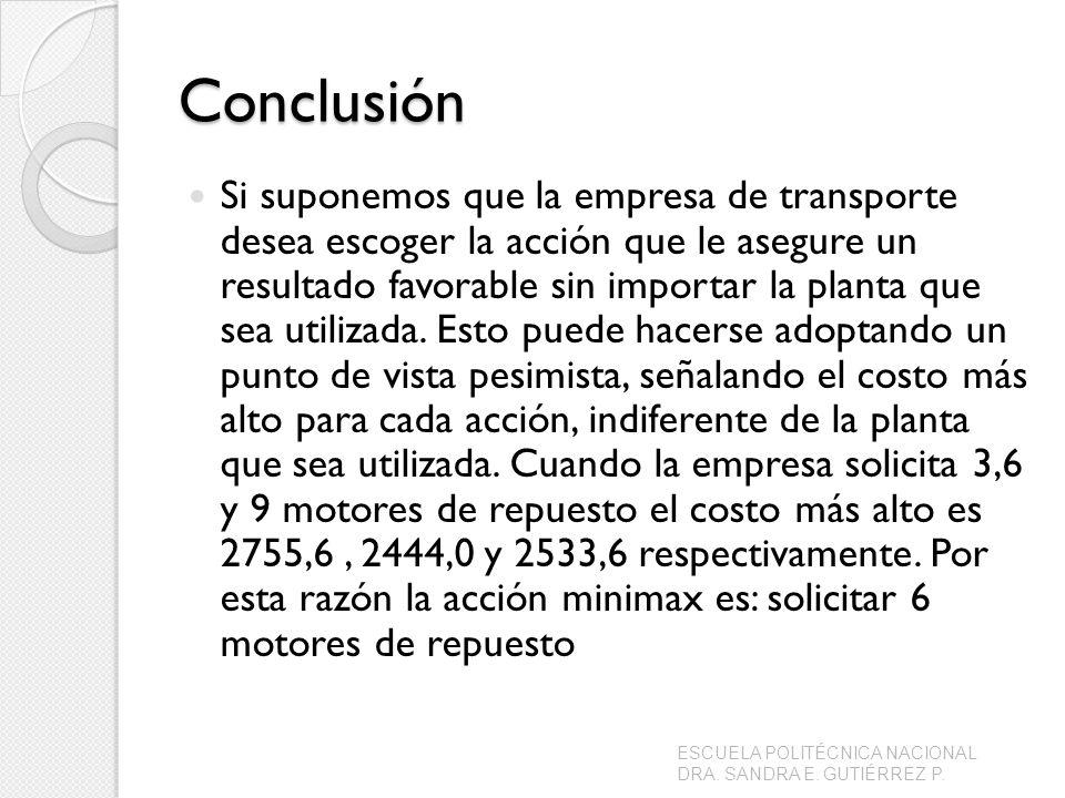 Conclusión Si suponemos que la empresa de transporte desea escoger la acción que le asegure un resultado favorable sin importar la planta que sea util