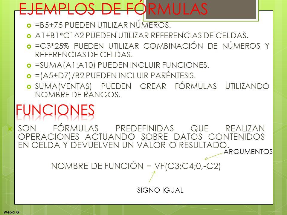 EJEMPLOS DE FÓRMULAS =B5+75 PUEDEN UTILIZAR NÚMEROS. A1+B1*C1^2 PUEDEN UTILIZAR REFERENCIAS DE CELDAS. =C3*25% PUEDEN UTILIZAR COMBINACIÓN DE NÚMEROS