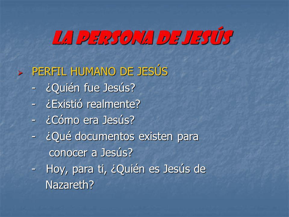 PERSONALIDAD JESUCRISTO PERSONAJE JUDIO -Hombre libre -Obediente -Para los demás -Cercano a los necesitados -Liberador -Fiel hasta la muerte -Saduceo -Zelota -Monje -Rabino -Sacerdote -Profeta Jesús de la historia Cristo de la fe
