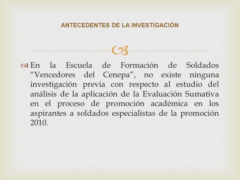 En la Escuela de Formación de Soldados Vencedores del Cenepa, no existe ninguna investigación previa con respecto al estudio del análisis de la aplica