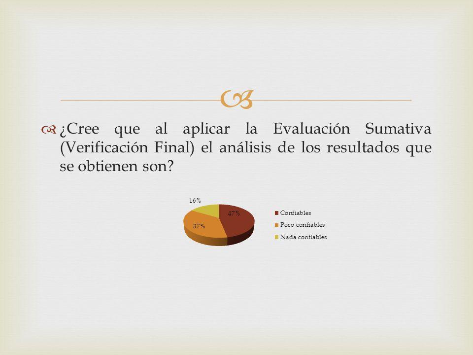 ¿Cree que al aplicar la Evaluación Sumativa (Verificación Final) el análisis de los resultados que se obtienen son?
