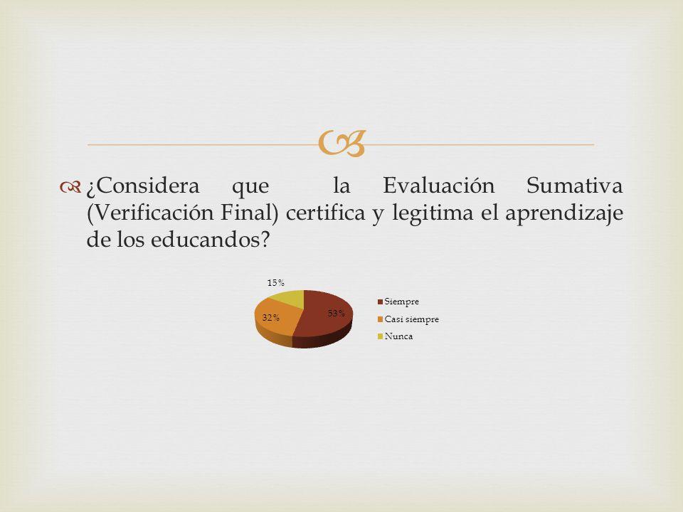 ¿Considera que la Evaluación Sumativa (Verificación Final) certifica y legitima el aprendizaje de los educandos?