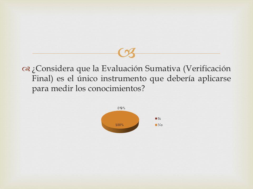 ¿Considera que la Evaluación Sumativa (Verificación Final) es el único instrumento que debería aplicarse para medir los conocimientos?