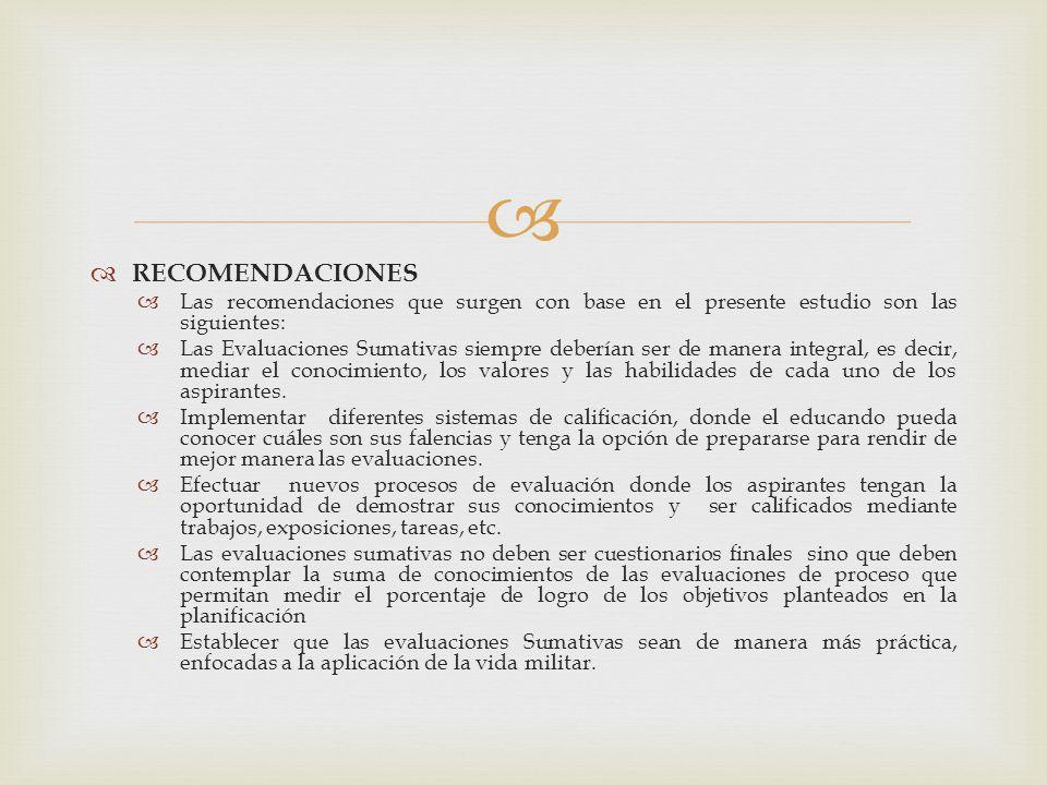 RECOMENDACIONES Las recomendaciones que surgen con base en el presente estudio son las siguientes: Las Evaluaciones Sumativas siempre deberían ser de