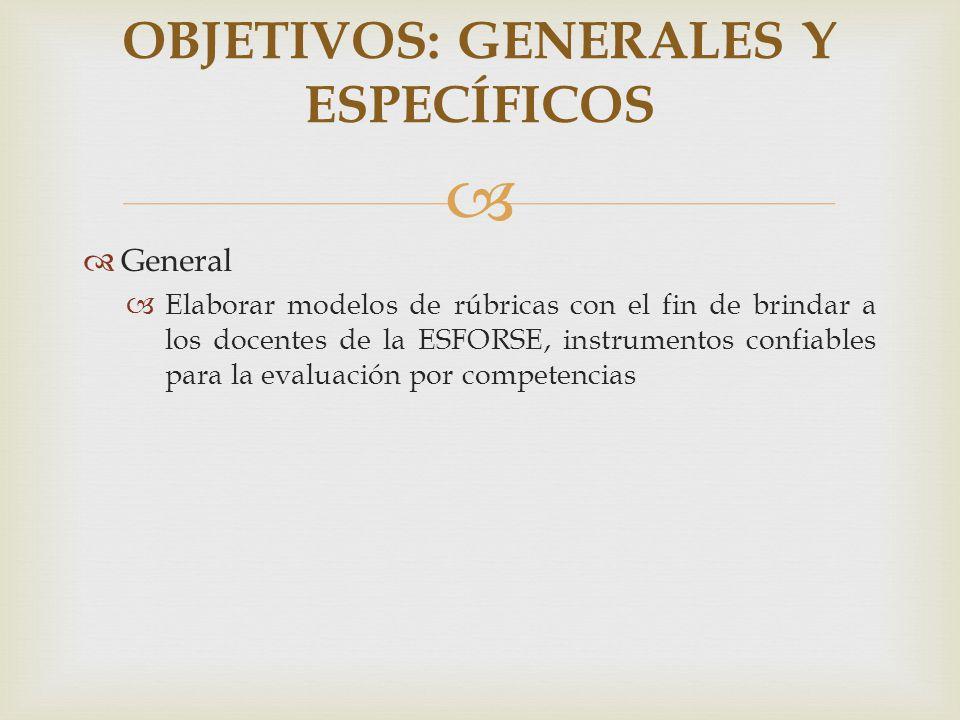 General Elaborar modelos de rúbricas con el fin de brindar a los docentes de la ESFORSE, instrumentos confiables para la evaluación por competencias O
