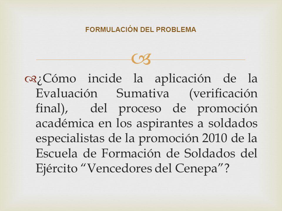 ¿Cómo incide la aplicación de la Evaluación Sumativa (verificación final), del proceso de promoción académica en los aspirantes a soldados especialist