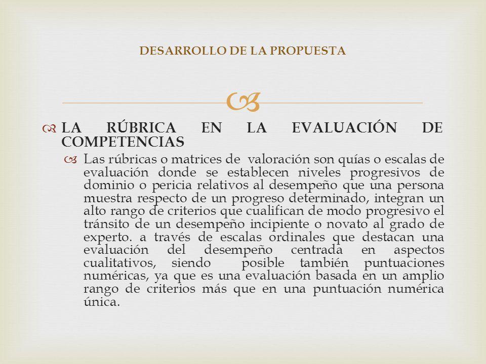 LA RÚBRICA EN LA EVALUACIÓN DE COMPETENCIAS Las rúbricas o matrices de valoración son quías o escalas de evaluación donde se establecen niveles progre