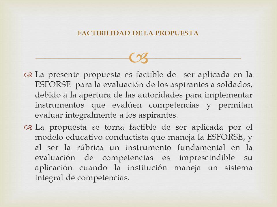 La presente propuesta es factible de ser aplicada en la ESFORSE para la evaluación de los aspirantes a soldados, debido a la apertura de las autoridad