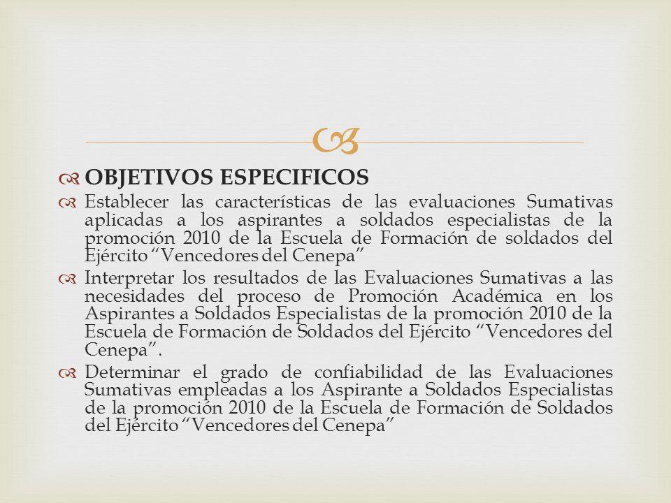 OBJETIVOS ESPECIFICOS Establecer las características de las evaluaciones Sumativas aplicadas a los aspirantes a soldados especialistas de la promoción