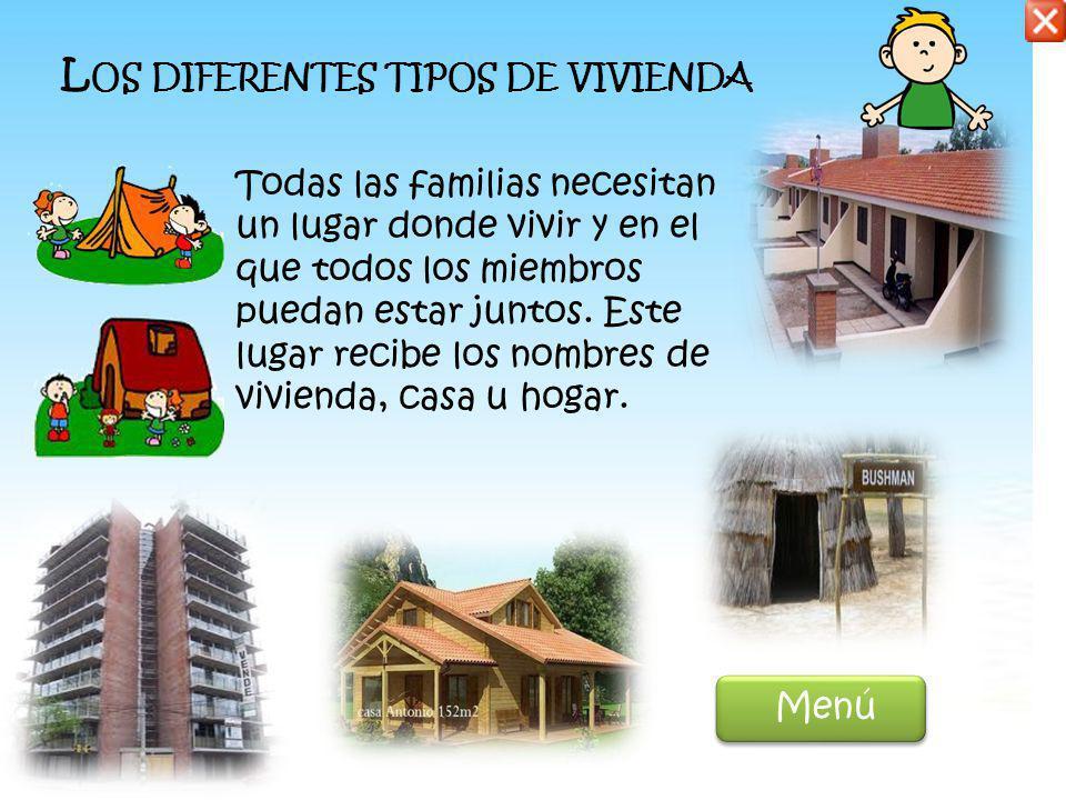 L OS DIFERENTES TIPOS DE VIVIENDA Todas las familias necesitan un lugar donde vivir y en el que todos los miembros puedan estar juntos.