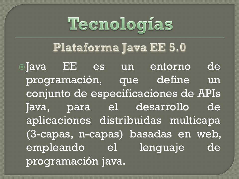Java EE es un entorno de programación, que define un conjunto de especificaciones de APIs Java, para el desarrollo de aplicaciones distribuidas multicapa (3-capas, n-capas) basadas en web, empleando el lenguaje de programación java.