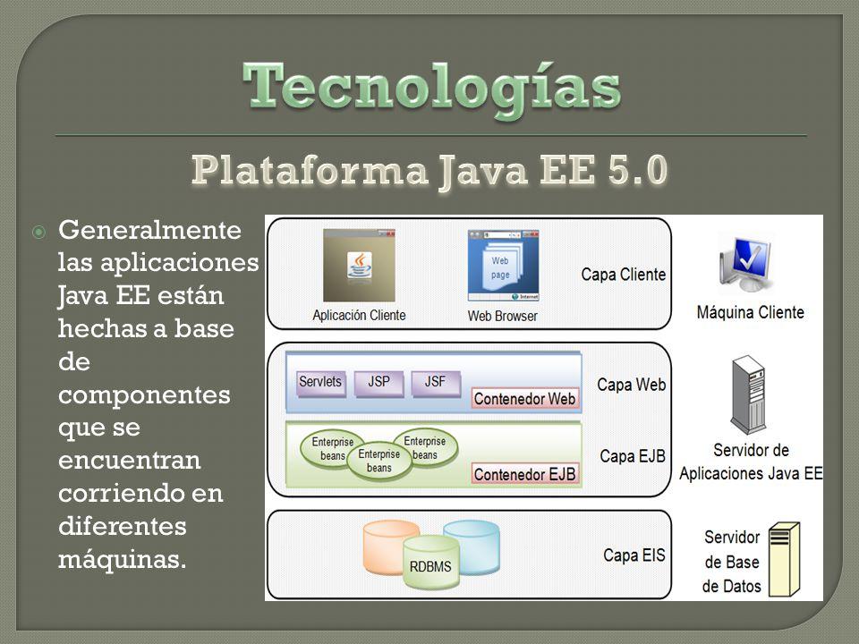 Generalmente las aplicaciones Java EE están hechas a base de componentes que se encuentran corriendo en diferentes máquinas.