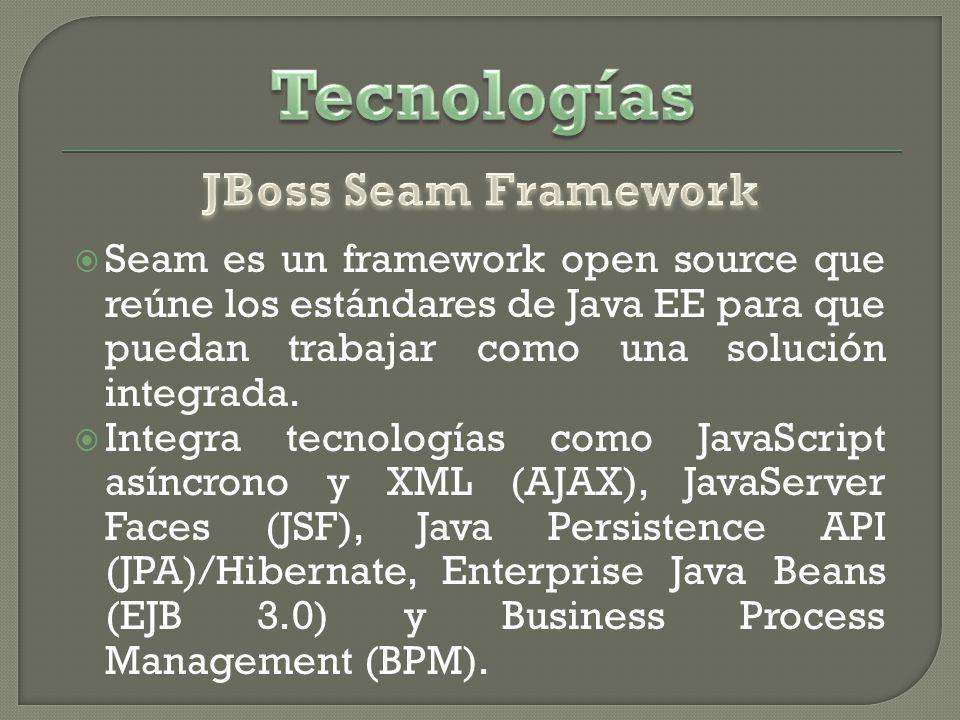 Seam es un framework open source que reúne los estándares de Java EE para que puedan trabajar como una solución integrada.