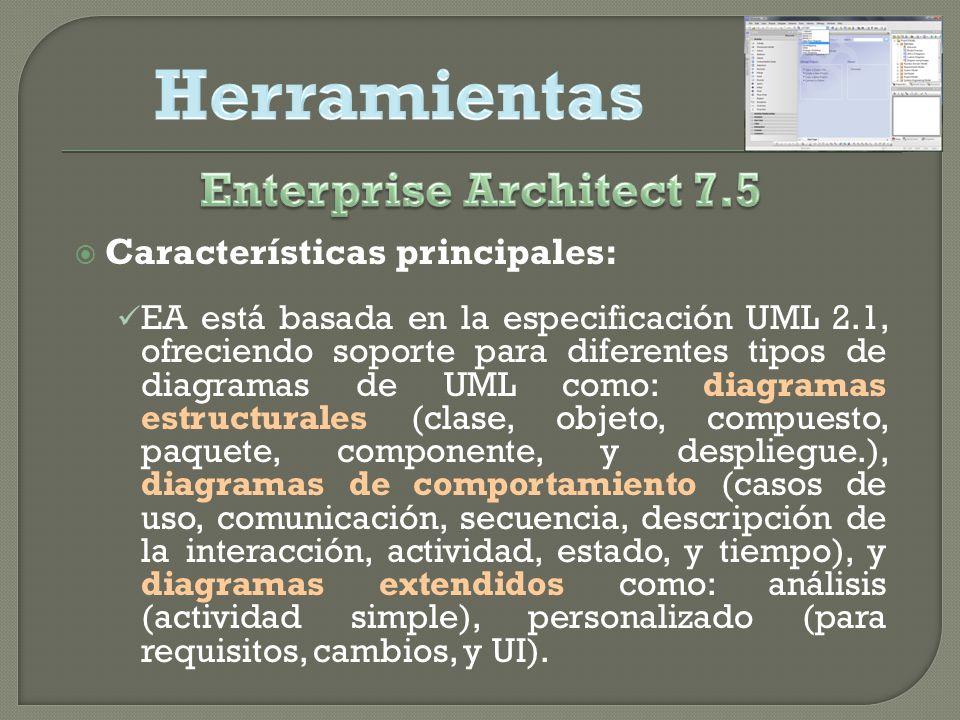Características principales: EA está basada en la especificación UML 2.1, ofreciendo soporte para diferentes tipos de diagramas de UML como: diagramas estructurales (clase, objeto, compuesto, paquete, componente, y despliegue.), diagramas de comportamiento (casos de uso, comunicación, secuencia, descripción de la interacción, actividad, estado, y tiempo), y diagramas extendidos como: análisis (actividad simple), personalizado (para requisitos, cambios, y UI).