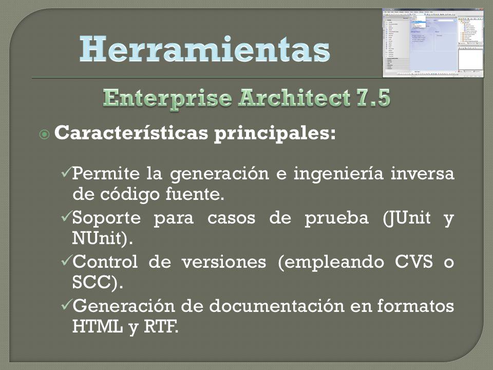 Características principales: Permite la generación e ingeniería inversa de código fuente.