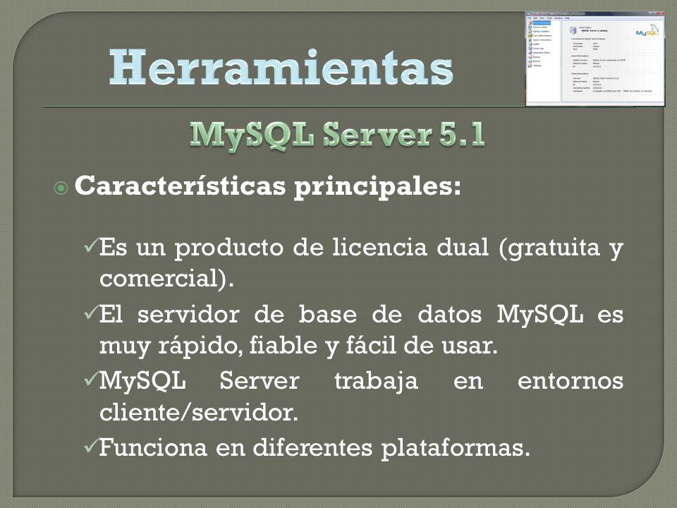Características principales: Es un producto de licencia dual (gratuita y comercial).