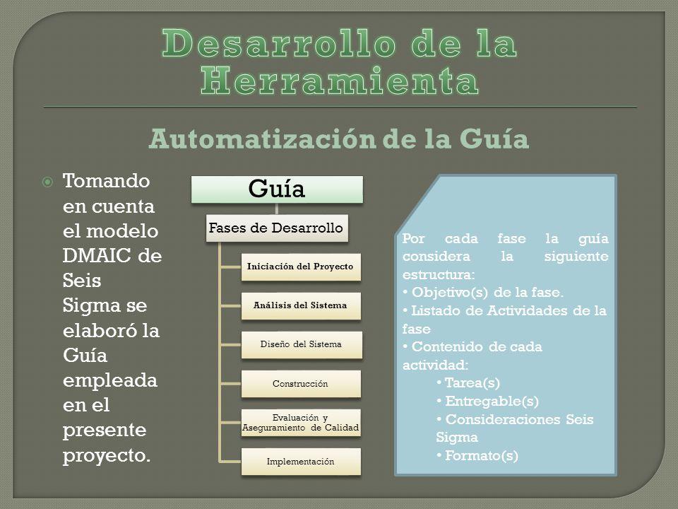 Automatización de la Guía Tomando en cuenta el modelo DMAIC de Seis Sigma se elaboró la Guía empleada en el presente proyecto.