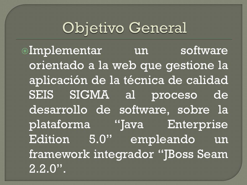Implementar un software orientado a la web que gestione la aplicación de la técnica de calidad SEIS SIGMA al proceso de desarrollo de software, sobre la plataforma Java Enterprise Edition 5.0 empleando un framework integrador JBoss Seam 2.2.0.