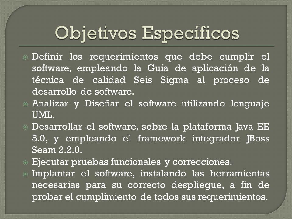 Definir los requerimientos que debe cumplir el software, empleando la Guía de aplicación de la técnica de calidad Seis Sigma al proceso de desarrollo de software.