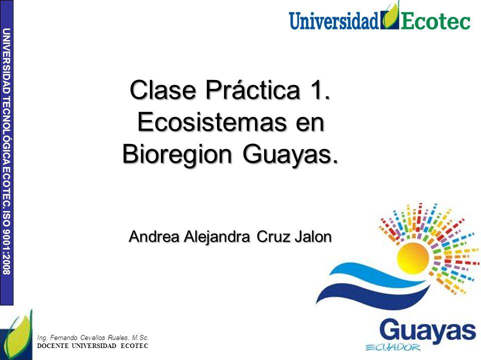 UNIVERSIDAD TECNOLÓGICA ECOTEC. ISO 9001:2008 1 Ing. Fernando Cevallos Ruales. M.Sc. DOCENTE UNIVERSIDAD ECOTEC Clase Práctica 1. Ecosistemas en Biore
