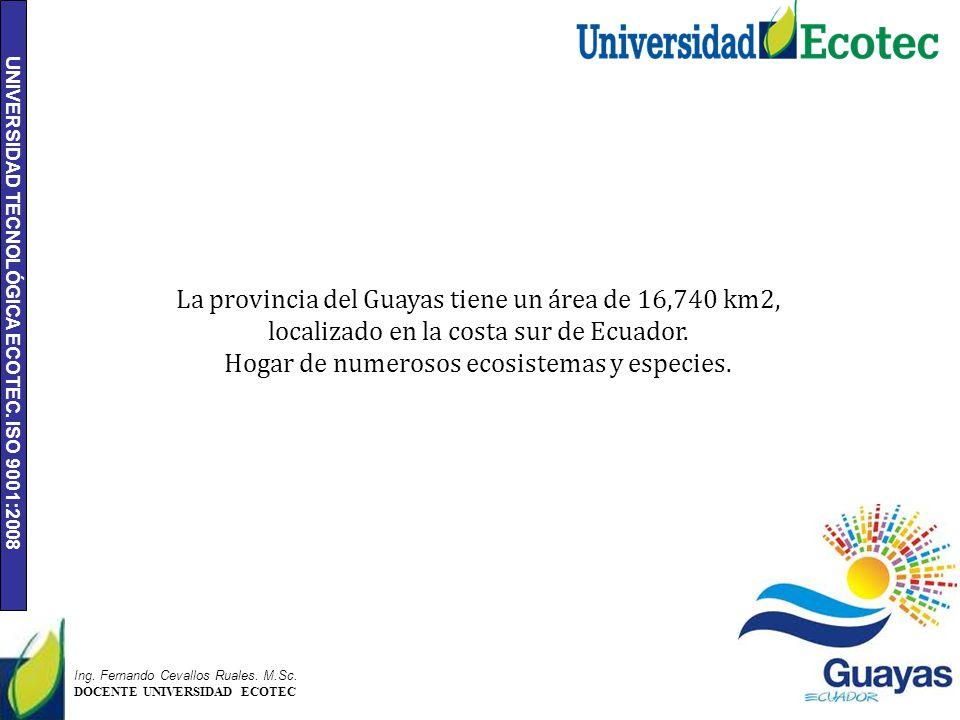 UNIVERSIDAD TECNOLÓGICA ECOTEC. ISO 9001:2008 2 Ing. Fernando Cevallos Ruales. M.Sc. DOCENTE UNIVERSIDAD ECOTEC La provincia del Guayas tiene un área
