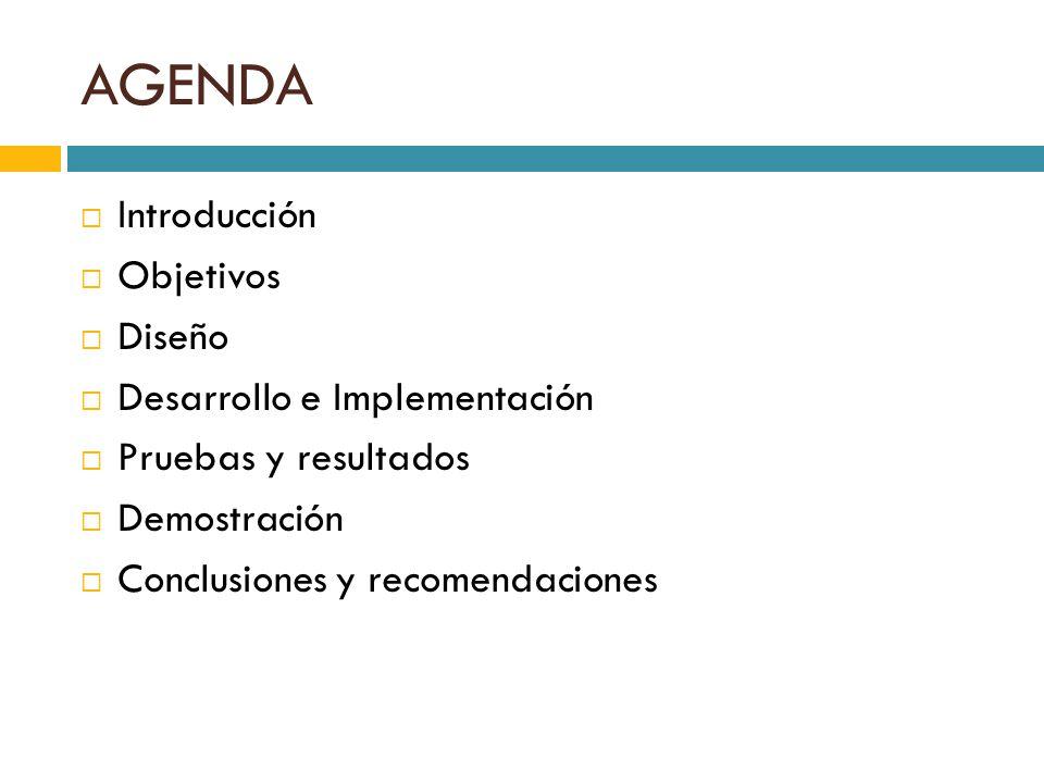AGENDA Introducción Objetivos Diseño Desarrollo e Implementación Pruebas y resultados Demostración Conclusiones y recomendaciones