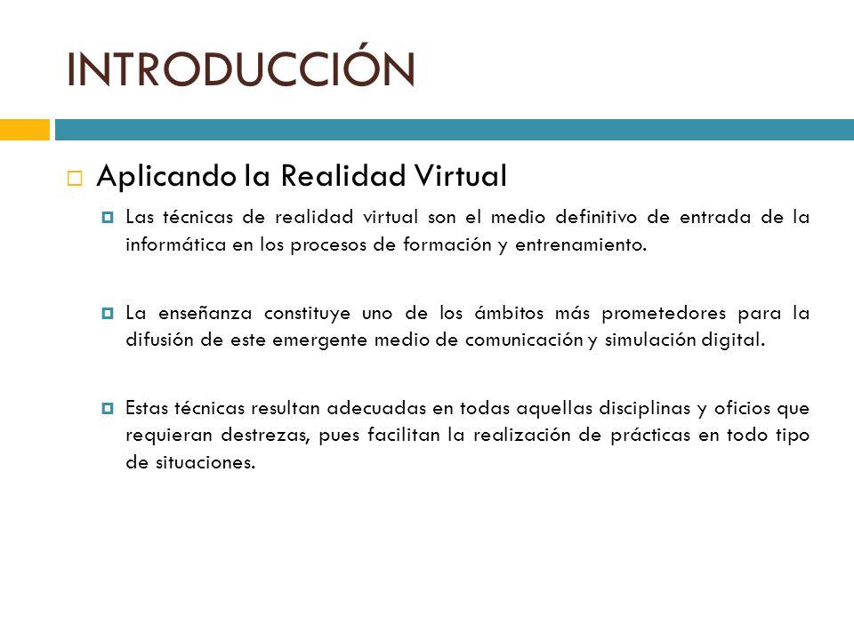 INTRODUCCIÓN Aplicando la Realidad Virtual Las técnicas de realidad virtual son el medio definitivo de entrada de la informática en los procesos de fo