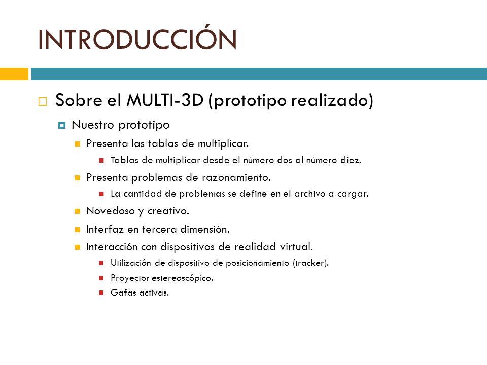 INTRODUCCIÓN Sobre el MULTI-3D (prototipo realizado) Nuestro prototipo Presenta las tablas de multiplicar. Tablas de multiplicar desde el número dos a