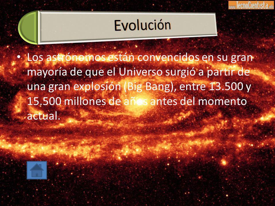 Los astrónomos están convencidos en su gran mayoría de que el Universo surgió a partir de una gran explosión (Big Bang), entre 13.500 y 15.500 millone