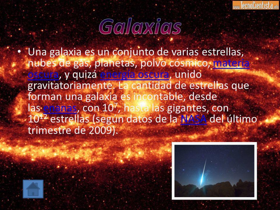 Una galaxia es un conjunto de varias estrellas, nubes de gas, planetas, polvo cósmico, materia oscura, y quizá energía oscura, unido gravitatoriamente