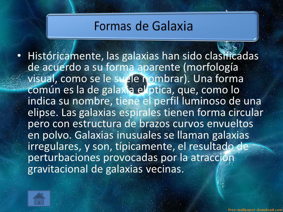 Históricamente, las galaxias han sido clasificadas de acuerdo a su forma aparente (morfología visual, como se le suele nombrar). Una forma común es la