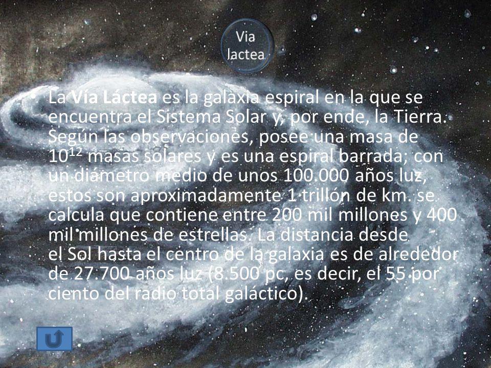 La Vía Láctea es la galaxia espiral en la que se encuentra el Sistema Solar y, por ende, la Tierra. Según las observaciones, posee una masa de 10 12 m