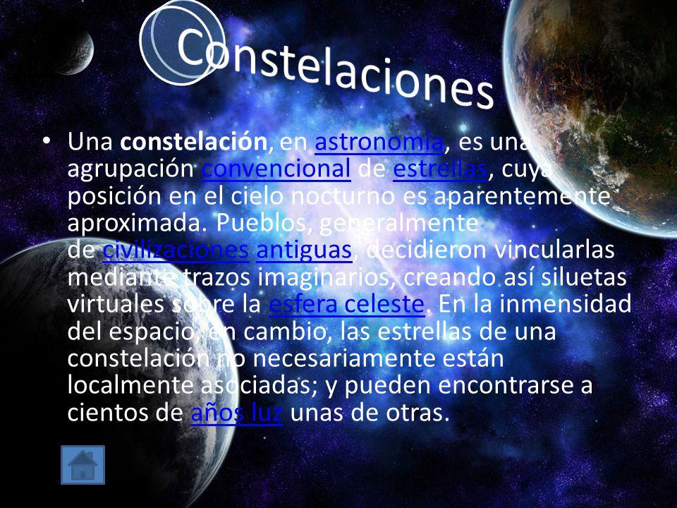 Una constelación, en astronomía, es una agrupación convencional de estrellas, cuya posición en el cielo nocturno es aparentemente aproximada. Pueblos,