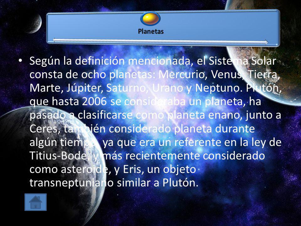 Según la definición mencionada, el Sistema Solar consta de ocho planetas: Mercurio, Venus, Tierra, Marte, Júpiter, Saturno, Urano y Neptuno. Plutón, q