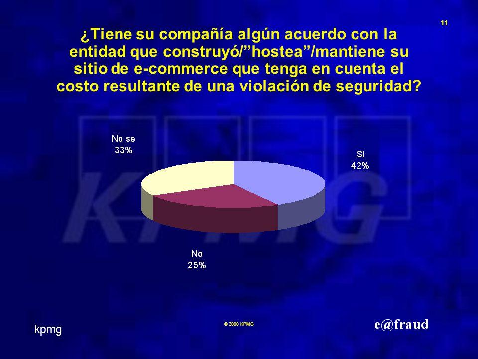 kpmg 11 © 2000 KPMG ¿Tiene su compañía algún acuerdo con la entidad que construyó/hostea/mantiene su sitio de e-commerce que tenga en cuenta el costo resultante de una violación de seguridad