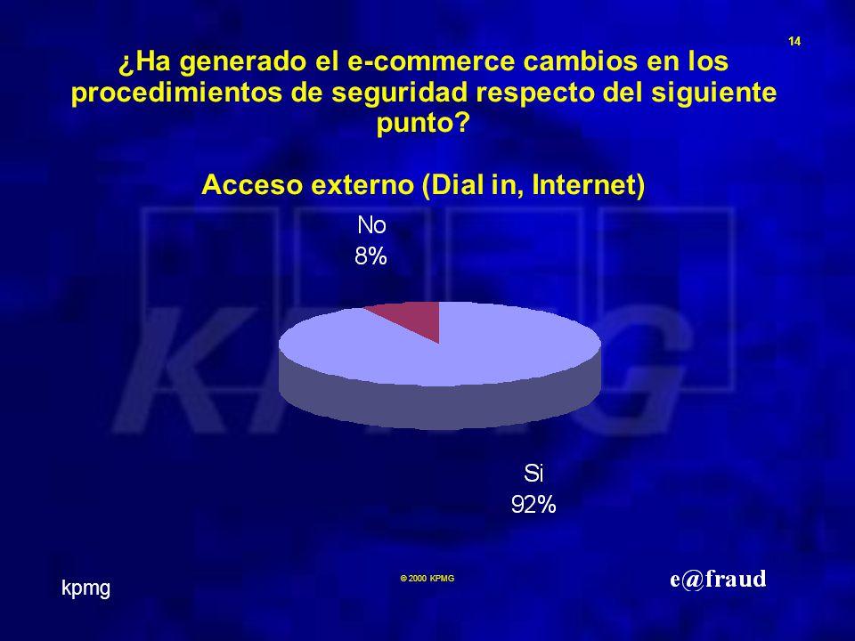 kpmg 14 © 2000 KPMG ¿Ha generado el e-commerce cambios en los procedimientos de seguridad respecto del siguiente punto.