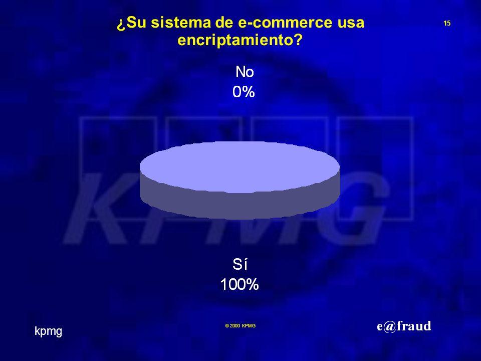 kpmg 15 © 2000 KPMG ¿Su sistema de e-commerce usa encriptamiento