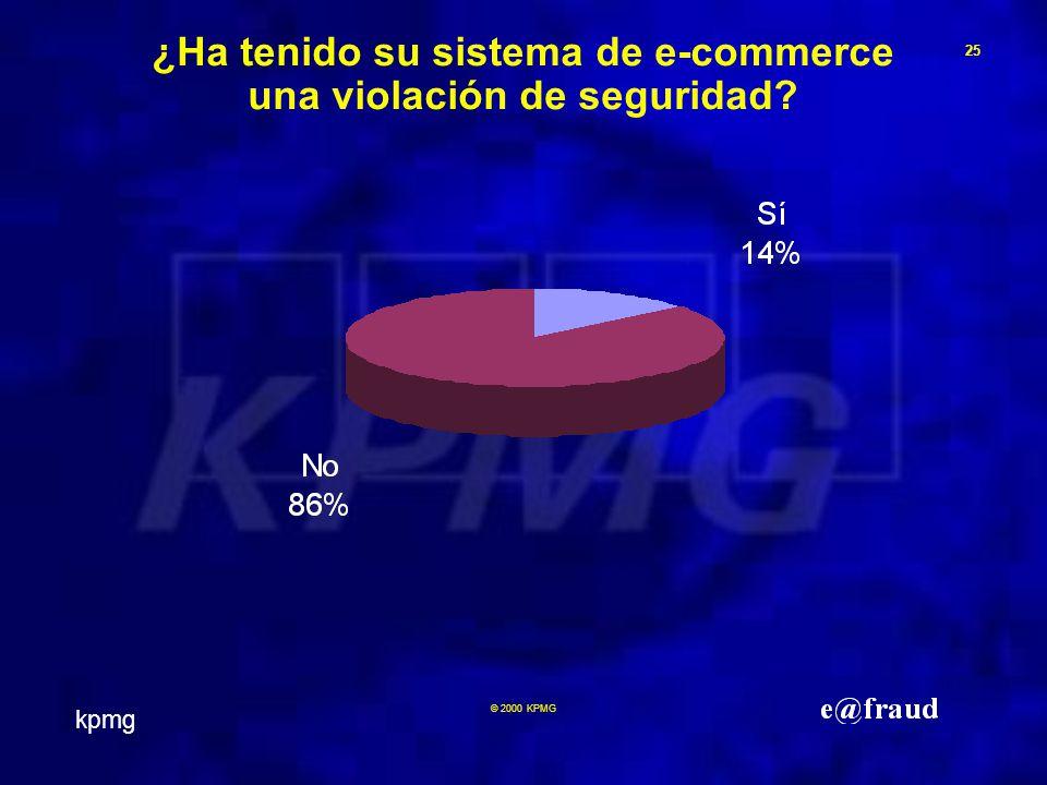 kpmg 25 © 2000 KPMG ¿Ha tenido su sistema de e-commerce una violación de seguridad
