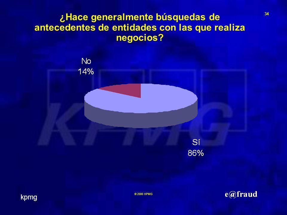 kpmg 34 © 2000 KPMG ¿Hace generalmente búsquedas de antecedentes de entidades con las que realiza negocios